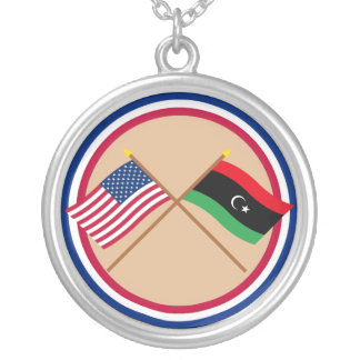 US and Libya Crossed Flags Round Pendant Necklace
