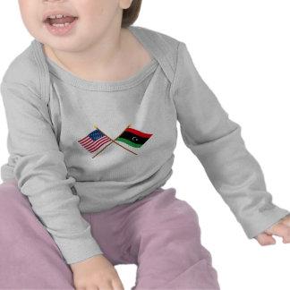 US and Libya Crossed Flags Tees