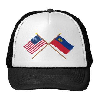 US and Liechtenstein Crossed Flags Mesh Hat