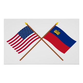 US and Liechtenstein Crossed Flags Poster