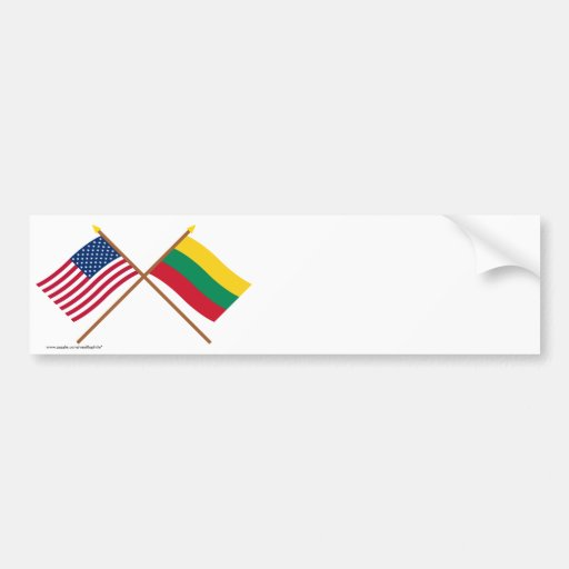 US and Lithuania Crossed Flags Bumper Sticker