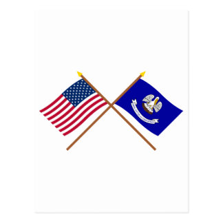 US and Louisiana Crossed Flags Postcard