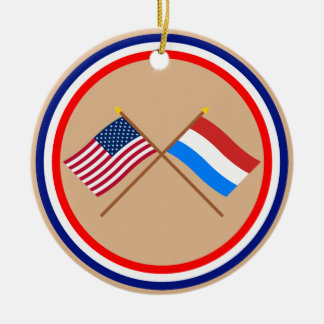 US and Luxembourg Crossed Flags Ceramic Ornament