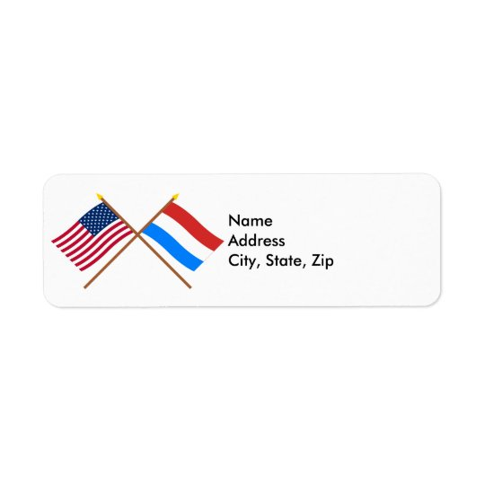 US and Luxembourg Crossed Flags Label