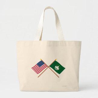 US and Macau Crossed Flags Bags