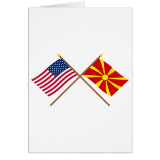 US and Macedonia Crossed Flags Card