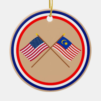 US and Malaysia Crossed Flags Christmas Ornaments