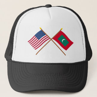 US and Maldives Crossed Flags Trucker Hat