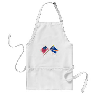US and Marshall Islands Crossed Flags Adult Apron