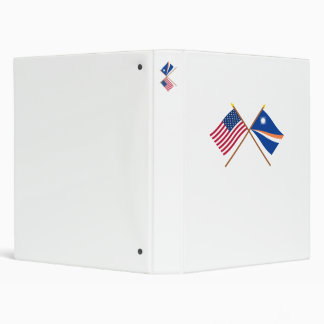 US and Marshall Islands Crossed Flags 3 Ring Binder