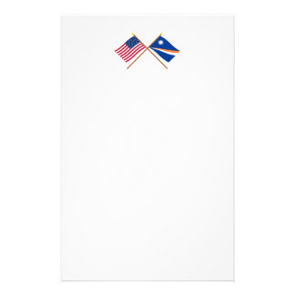 US and Marshall Islands Crossed Flags Stationery