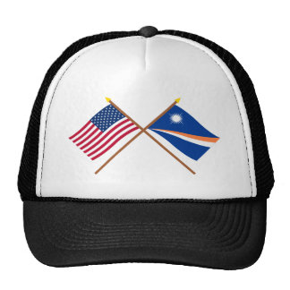 US and Marshall Islands Crossed Flags Trucker Hat