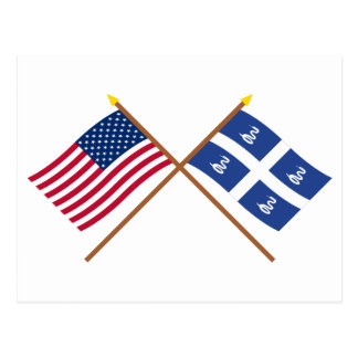 US and Martinique Crossed Flags Postcard