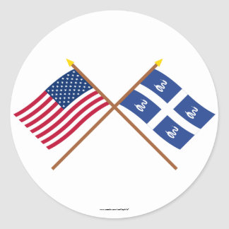 US and Martinique Crossed Flags Round Stickers