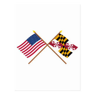 US and Maryland Crossed Flags Postcard