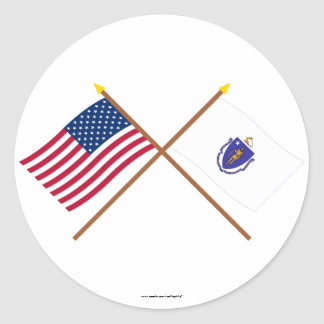 US and Massachusetts Crossed Flags Round Stickers