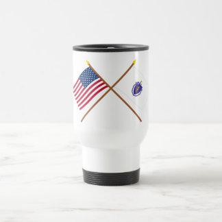 US and Massachusetts Crossed Flags Travel Mug