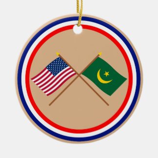 US and Mauritania Crossed Flags Ornament
