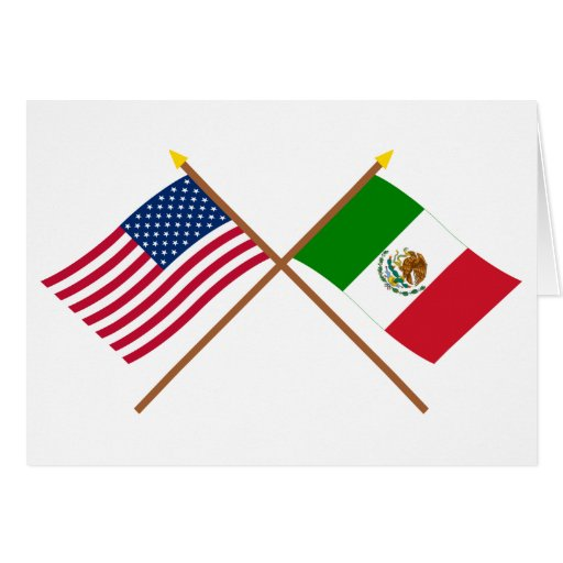 US and Mexico Crossed Flags Cards