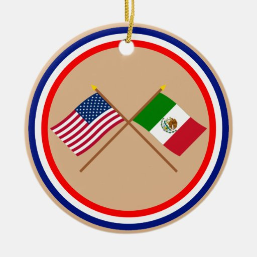 US and Mexico Crossed Flags Double-Sided Ceramic Round Christmas Ornament
