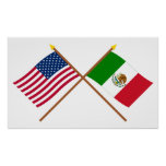 US and Mexico Crossed Flags Poster