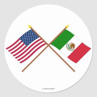 US and Mexico Crossed Flags Round Sticker
