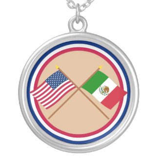 US and Mexico Crossed Flags Silver Plated Necklace