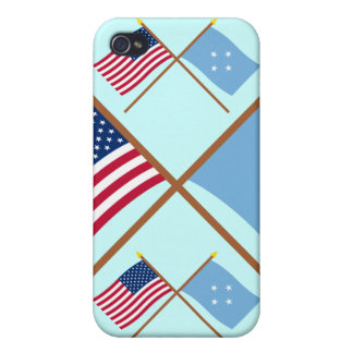 US and Micronesia Crossed Flags iPhone 4/4S Cases