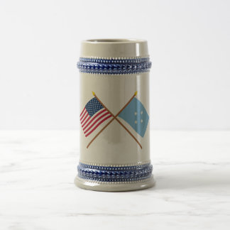 US and Micronesia Crossed Flags 18 Oz Beer Stein
