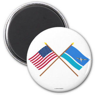 US and Midway Islands Crossed Flags Fridge Magnets