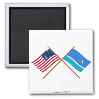 US and Midway Islands Crossed Flags Refrigerator Magnet