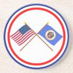 US and Minnesota Crossed Flags Coasters