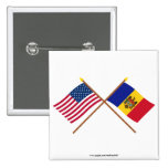 US and Moldova Crossed Flags 2 Inch Square Button