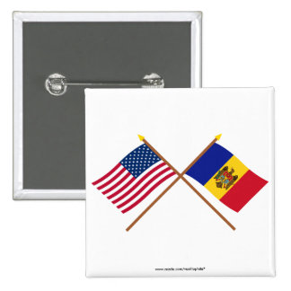 US and Moldova Crossed Flags Pinback Button