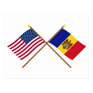 US and Moldova Crossed Flags Postcard