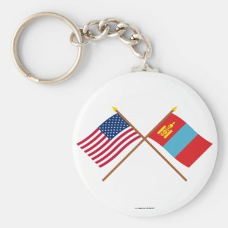 US and Mongolia Crossed Flags Basic Round Button Keychain