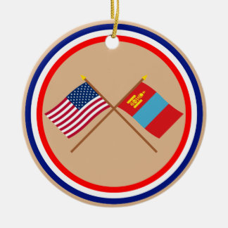 US and Mongolia Crossed Flags Ceramic Ornament