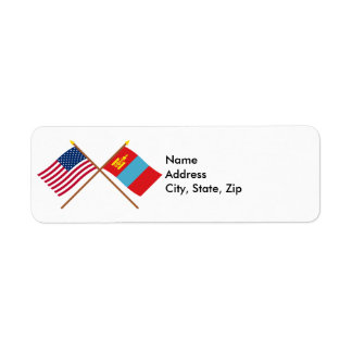 US and Mongolia Crossed Flags Label