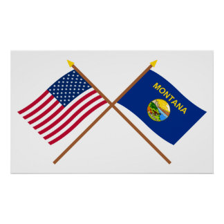 US and Montana Crossed Flags Posters