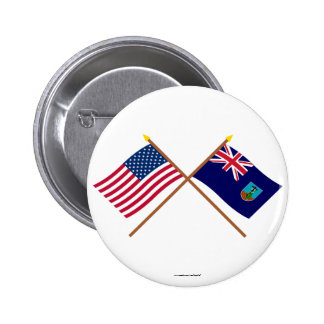 US and Montserrat Crossed Flags 2 Inch Round Button