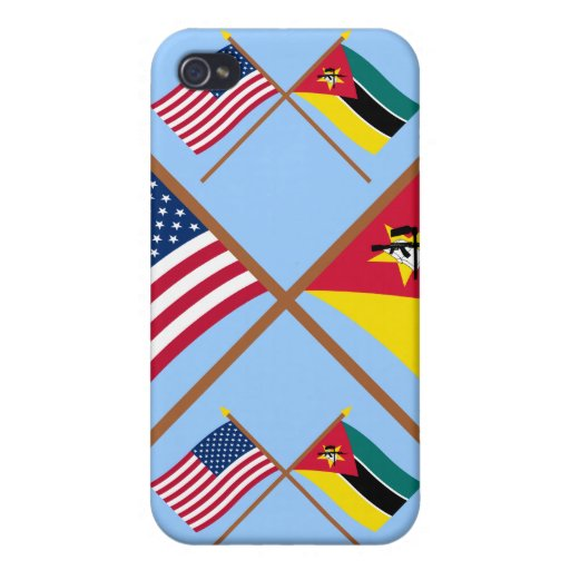 US and Mozambique Crossed Flags Cases For iPhone 4