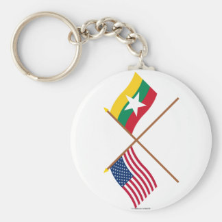 US and Myanmar Crossed Flags Keychain