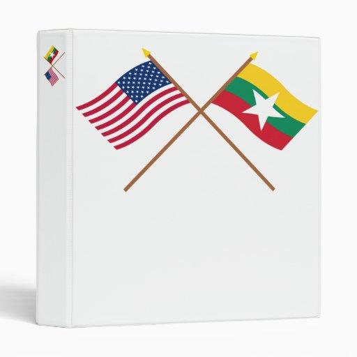 US and Myanmar Crossed Flags Vinyl Binders