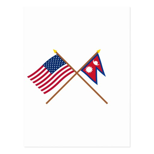 US and Nepal Crossed Flags Postcards