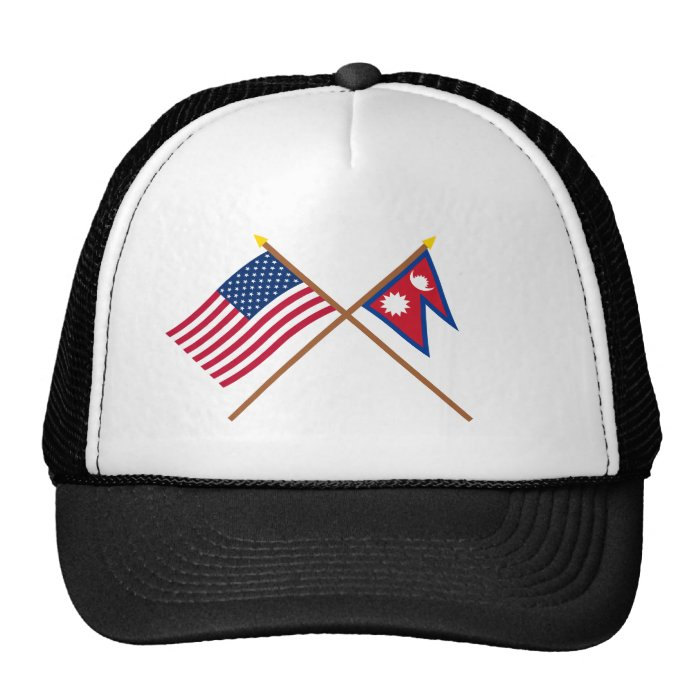 US and Nepal Crossed Flags Trucker Hat