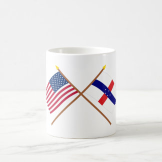 US and Netherlands Antilles Crossed Flags Coffee Mug