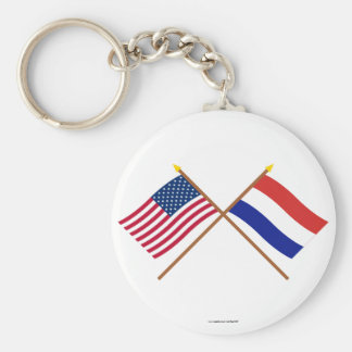 US and Netherlands Crossed Flags Basic Round Button Keychain