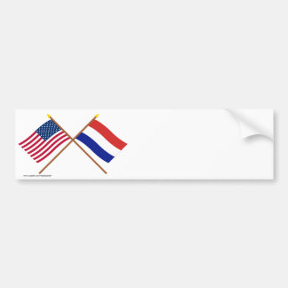 US and Netherlands Crossed Flags Bumper Sticker