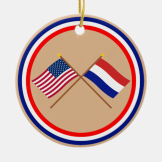 US and Netherlands Crossed Flags Ceramic Ornament