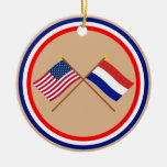 US and Netherlands Crossed Flags Christmas Tree Ornament